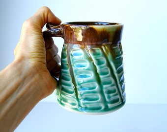 Pottery Coffee Mug, Pottery Tea Cup, Handmade Wheel Thrown Pottery Mug in Brown and Green