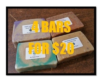 BUY 4 and SAVE-goat milk soap-bath/shower bars by Happy Goat