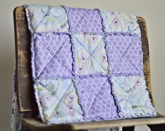 Baby Rag quilt Purple paisley-FREE SHIPPING
