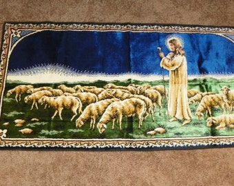 Vintage Good Shepherd Tapestry Wall Hanging Jesus and Sheep 20 X 40 - Unique
