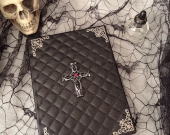 Black Quilted Pleather Leather Red Jeweled Cross Blank Art Drawing Design Sketchbook Book
