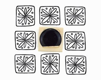 Boxed Star Pattern Rubber Stamp - Hand Drawn Pattern Stamp