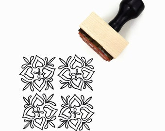 Scandinavian Hearts Pattern Rubber Stamp - Hand Drawn Geometric Pattern Stamp
