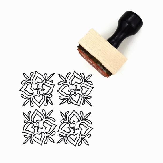 Scandinavian Hearts Pattern Rubber Stamp - Hand Drawn Geometric Pattern Stamp