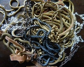 Jumble of chain lot solid brass copper silver plate 8