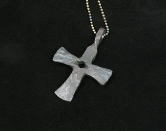 Forged iron cross pendant -- i11744