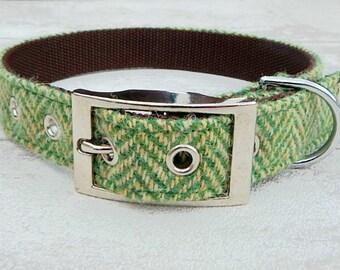 Dog Collar Harris Tweed Green Herringbone
