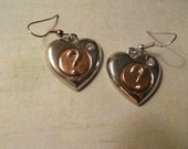 Heart Earrings in Silver and Copper with Question Mark and Rhinestone