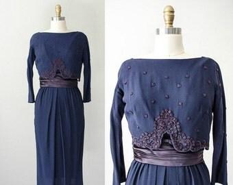 25% OFF SALE / 1950s vintage dress / navy blue rayon crepe wiggle dress / overlay dress / Carlye / modern size 6