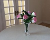glass vase and roses for dollhouses