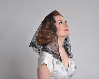 1960s Black Lace Mantilla Veil - Vintage Catholic Bridal Fashions