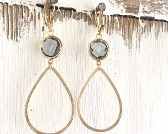 Large Open Drop Gold Statement Earrings with Charcoal Stones. Jewelry. Charcoal Gray Statement Earrings in Gold. Statement Jewelry.
