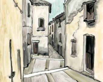 Europe , original watercolor painting on Yupo Paper, 11x14, streetscape, narrow passage, beige, gray, black, blue