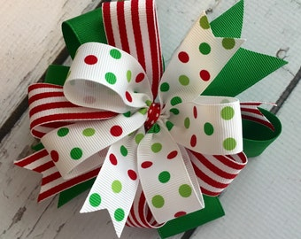 Sassy Christmas Hair Bow - Christmas Bow Grosgrain Ribbons Layered