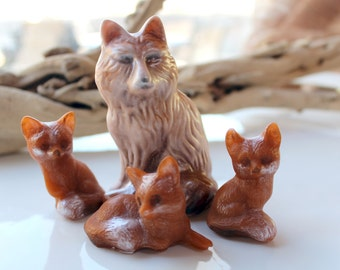FOX SOAP, Mother and Baby Foxes, Animal Soap, Spring Soap, Colored in Amber Copper and Cream, Custom Scented, Novelty Soap, Gifts for Spring