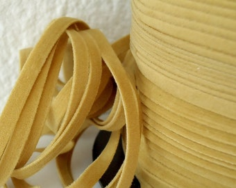 6yds Faux Suede leather Micro fiber Jewelry Flat Cord Tan Lace Microfiber 4mm x .5mm Dreamcatcher for Dream Catcher Choker Necklace