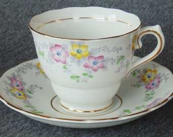 Colclough China Cup And Saucer Set Pink & Yellow Flowers Fine Bone China England
