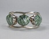 Vintage Seraphinite Cuff, Sterling Bracelet, Green & White Stone, Statement Cuff, Large Cuff, Unisex Bracelet