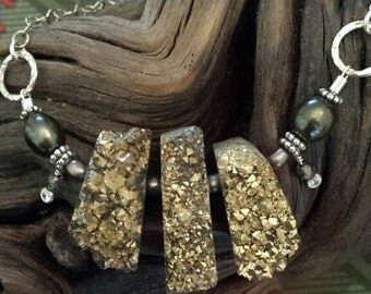 Sterling Silver Pyrite Necklace with Cultured Pearls