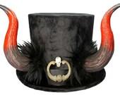 El Diablo Tall Black Top Hat Demon Horns Gothic Devil Lucifer Steampunk Krampus