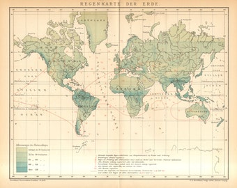 1895 Antique World Map of Precipitation, Rainfall Distribution over the Globe