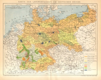 1896 Agriculture in Germany Original Antique Map