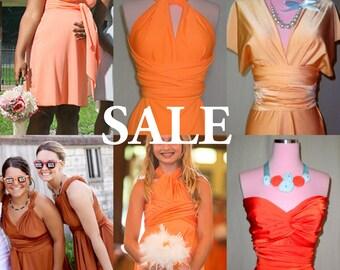 Orange Dress Sale - Orange Infinity Convertible Dress - Please Read Description -  Orange Bridesmaids Dresses