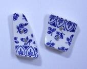 Button Set 2 Rectangular Shaped Buttons Blue Floral Sew On Broken China Handmade Coat Handbag Shawl Hat Sweater Knit #490