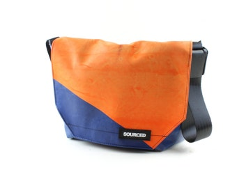 Messenger Bag made from Upcycled Truck Tarp, Laptop Bag, Courier Bag, Eco Friendly and Handmade (K08)