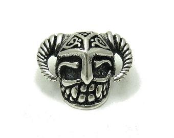 PE001104 Sterling silver pendant  solid 925 Bead Viking Skull