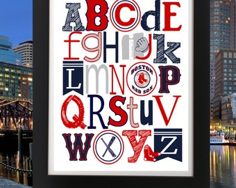 Boston RED SOX ABC Nursery Art Print