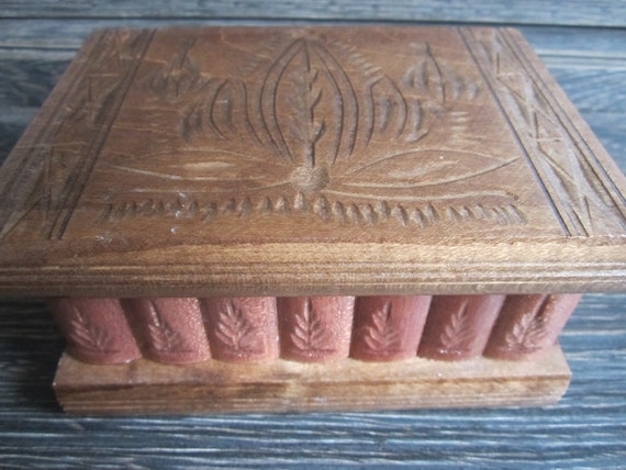 Transylvanian Vintage Brown Hinged Trinket Wooden Jewrelry Puzzle Box w/ Lock Key