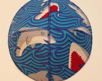 Sharks and Waves Saucer Kippah Yarmulke