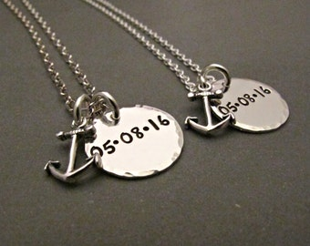 personalized his and hers bullet necklace matching