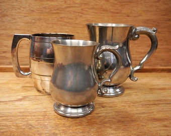 Collection of Vintage English Silver Plate and Pewter Tankards