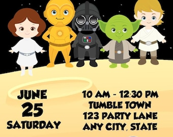 Star Wars Jedis and Princesses Birthday Invitation for Twins, Triplets and Siblings