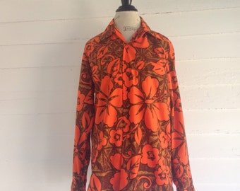 Vintage Men's Authentic Hawaiian Orange Floral Blouse