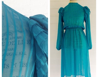 Vintage SHEER Teal 1980s Dress