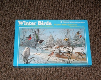 Winter Birds Puzzle National Wildlife Fed 500 pc vintage 1975 with guide scenic snow landscape