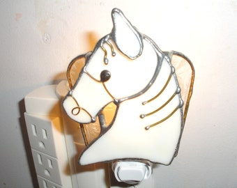 LT Stained glass Horse Head night light lamp bone lightly textured background