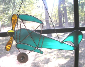 LT Stained glass By-Plane sun catcher light catcher aqua and white streaked airplane