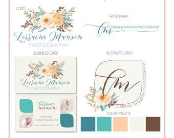 Branding Set - Flowers Ranunculus Watercolor - Logos, Watermark, Business Card - Customizable - Predesigned - Option to retire design