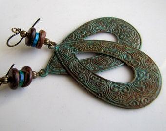 Bohemian Earrings Metal Earrings Boho Earrings Gypsy Earrings Verdigris Earrings Boho Jewelry Teardrop Earring Rustic Jewelry Patina Jewelry