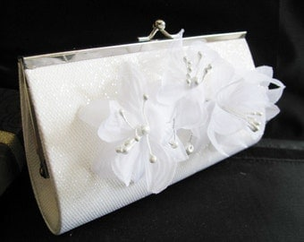 white Bridal Wedding Bag Clutch Formal Wear with Silk Flower Bridal wedding clutch evening bag