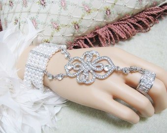 Wedding Bracelet, Pageant Bracelet, Chain Rhinestone Bracelet, Bridal Bracelet Hand Chain, Pave Crystal Ring Chain Pearl Bracelet