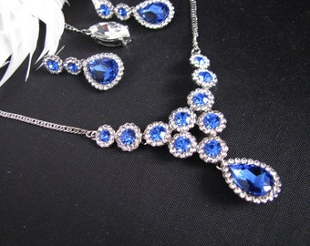 Blue Vintage Inspired Wedding Bridal Necklace and Earring Set in Antique Silver tone Back drop Necklace