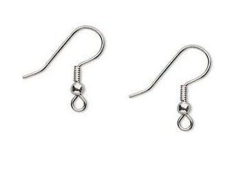 100 Pieces Surgical Steel Earring Hooks Surgical Stainless Steel French Hook 18mm Ball and Coil