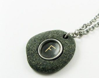 Typewriter Key Pendant - Rock Necklace on Stainless Steel Chain - Unique Initial Letter K or F Monogram Only - Writer or Author Jewelry