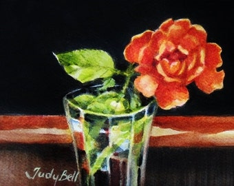 Coral Rose - Flower Still Life - Watercolor Painting - Tiny Original Art