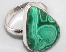 Sale, Adorable Green Malachite, Size 7.5 USA, 925 silver, One of a Kind, Unique Stone
